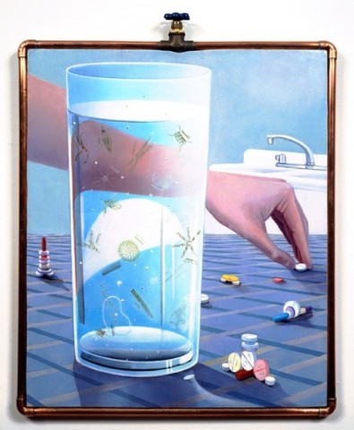 Aquarium, 1997 oil on canvas on wood panel w/1/2 inch copper plumbing pipe w/ valve frame, 22.25x28.50
