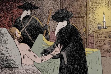Médicos na Idade Média tratando de Paciente com Peste Negra