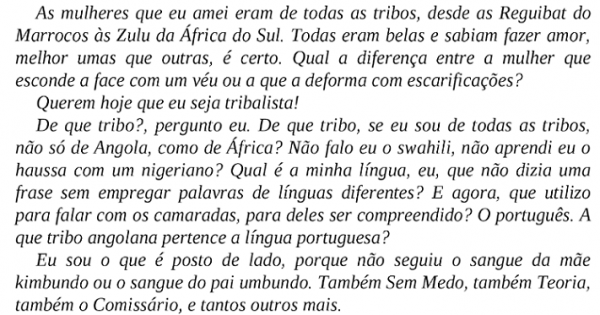 Trecho sobre Tribalismo na Angola